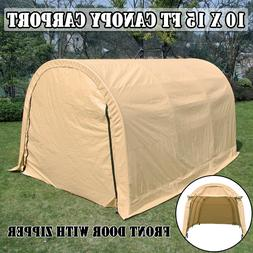 10x15ft Canopy Carport Car Shed Shelter Outdoor Wood Haystac