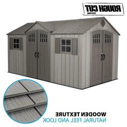 15' x 8' Rough Cut Dual-Entry Outdoor Storage Shed by Lifeti