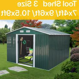 3 Size Outdoor Garden Storage Shed Metal Tool House Backyard