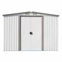 Kinbor  6' x 8' Outdoor White Steel Garden Storage Utility T