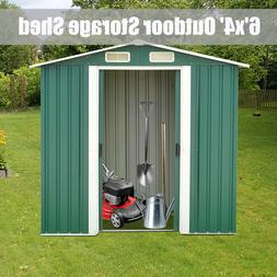 6'x4' Outdoor Garden Storage Shed Utility Tool House Sliding