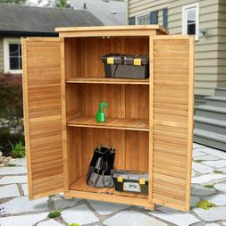 """63"""" Tall Garden Storage Shed Double Doors Shutter Fir Wood L"""
