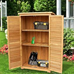 """63"""" Tall Garden Storage Shed Wooden Tools Shutter Fir Wood L"""