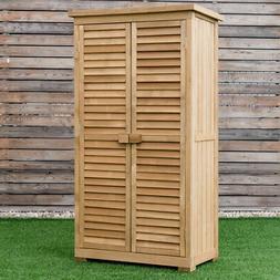 """63"""" Tall Wooden Garden Storage Shed Shutter Design Fir Wood"""