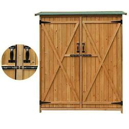 "64"" Fir Wood Shed Garden Storage Shed with Double Doors High"