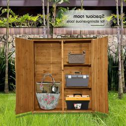 """64"""" Tall Garden Storage Shed Double Doors Shutter Fir Wood L"""
