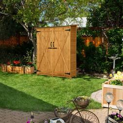 """Mcombo 64"""" Wooden Shed Garden Storage Shed Utility Tools Org"""