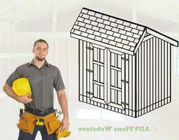 6X8 CLASSIC SALTBOX STORAGE SHED, 26 UTILITY SHED PLANS, ADV
