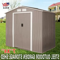 7'' X 4'' Outdoor Garden Storage Shed Tool House Sliding Doo