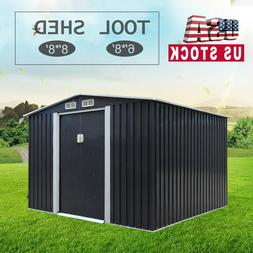 8' X 6'/8' ft Outdoor Garden Storage Steel Shed Utility Tool