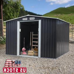 8 x 8ft Outdoor Garden Storage Shed Sliding Door Backyard St