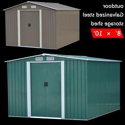 8'x10' Garden Steel Storage Shed Garage Tool Utility Foundat