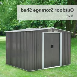 8'X6' Outdoor Garden Storage Shed Tool House Sliding Door St