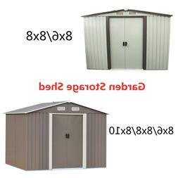 8x6 / 8x8 / 8x10ft Steel Garden Storage Shed Outdoor Tool Sh