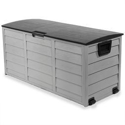 All-Weather Deck Box Storage w/ Wheel UV Pool Shed Bin Backy