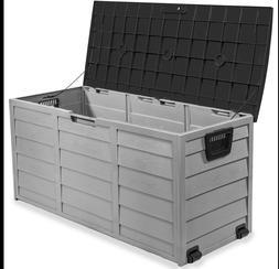 All Weather UV Pool Deck Box Storage Shed Bin Backyard Patio