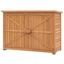 Double Doors Fir Wood Garden Shed Lockers Outdoor Storage Ca