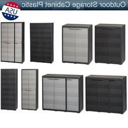 Double Doors Outdoor Storage Plastic Cabinet Garden Yard Sto