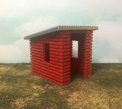 Garden or Storage Shed - Red Brick with Silver Roof - S Scal