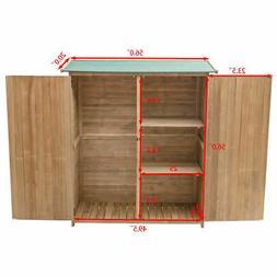 Garden Outdoor Wooden Storage Shed Cabinet Double Doors Fir