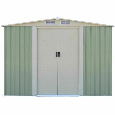 Garden Storage House Sliding Door Green
