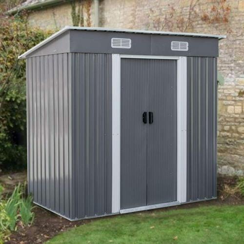 4 x 6 Ft Outdoor Storage Shed Lockable Organizer for Garden
