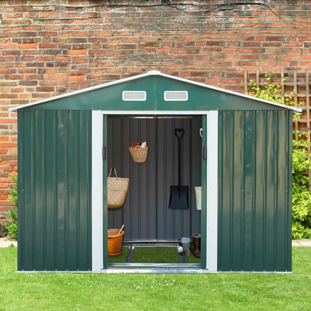 9x6x6ft Garden Storage Shed Tool House Sliding Door Backyard