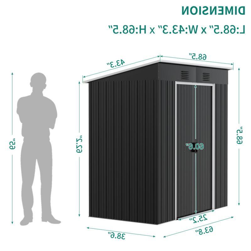 YITAHOME 4'x Storage Tool Shed Black