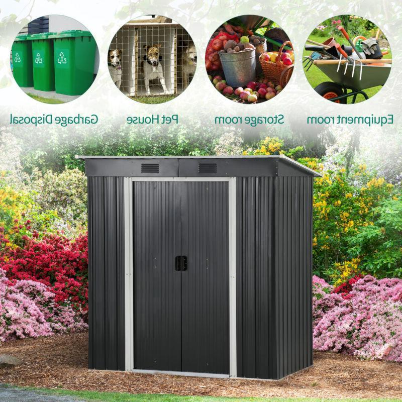 YITAHOME 6' Outdoor Storage Shed Patio Backyard Black