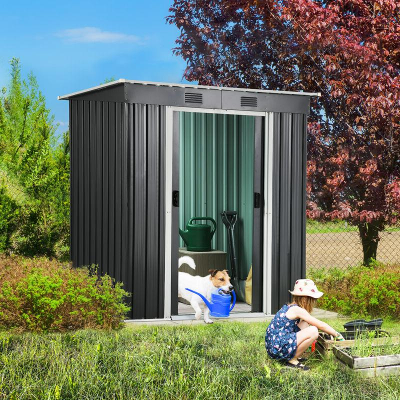 YITAHOME 4'x 6' Outdoor Storage Shed Patio Black