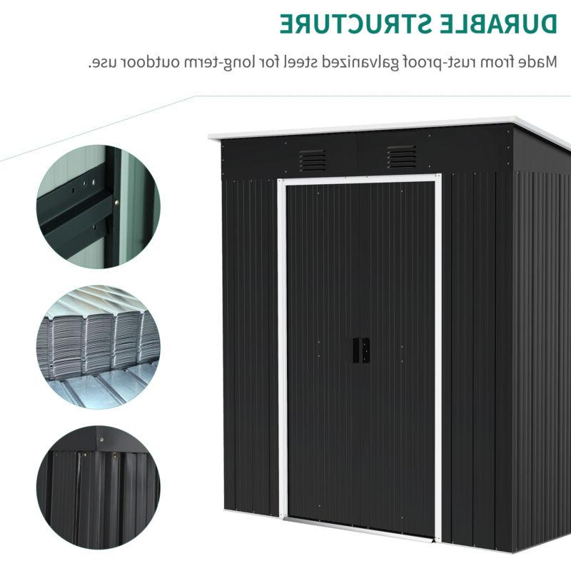 YITAHOME 4'x Storage Shed Utility Shed Patio Black