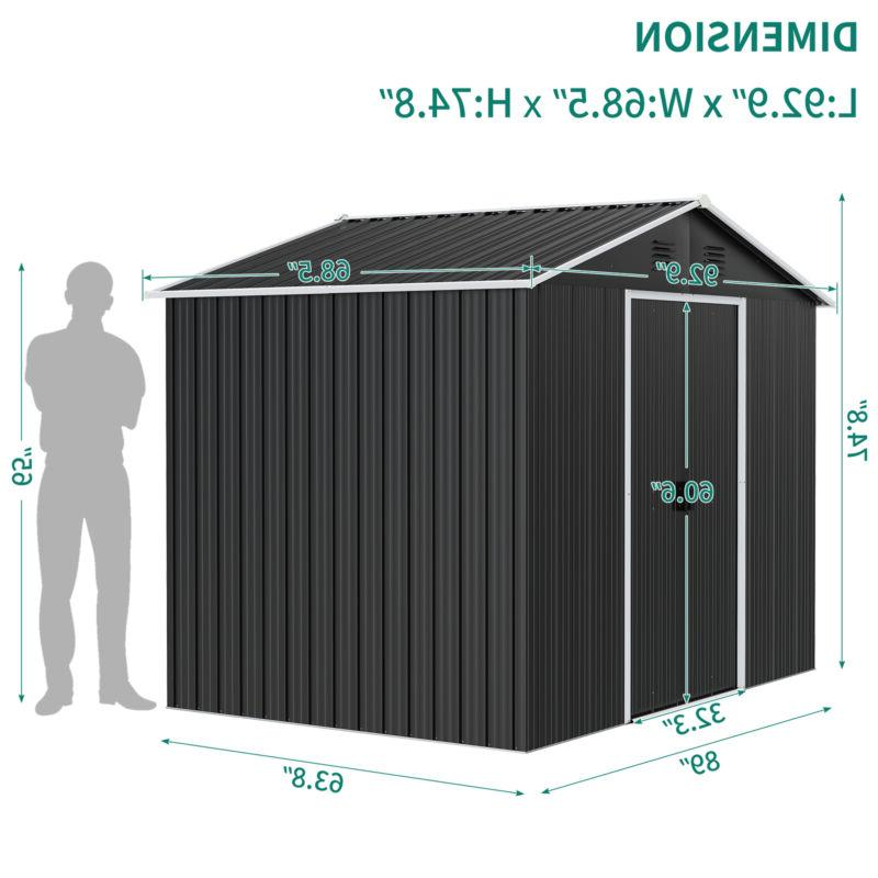 YITAHOME 6'x8' Outdoor Storage Shed Utility House Sliding Door Patio