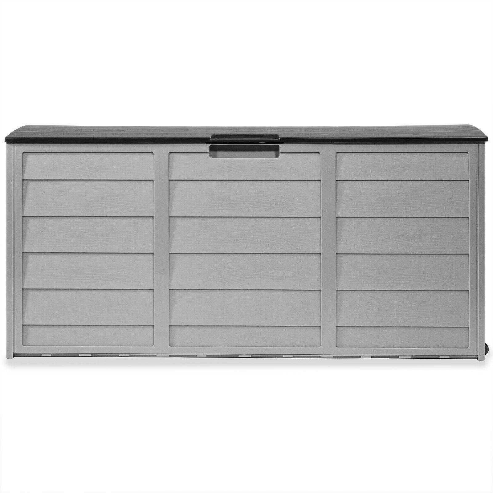 All-Weather Deck Box Storage w/ Wheel Pool Shed Bin 63