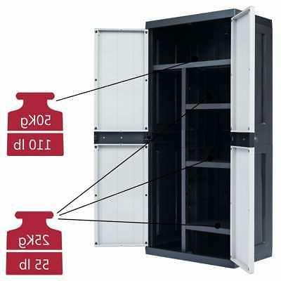 Outdoor Garden Storage Cabinet Plastic Garage Shed Lockab