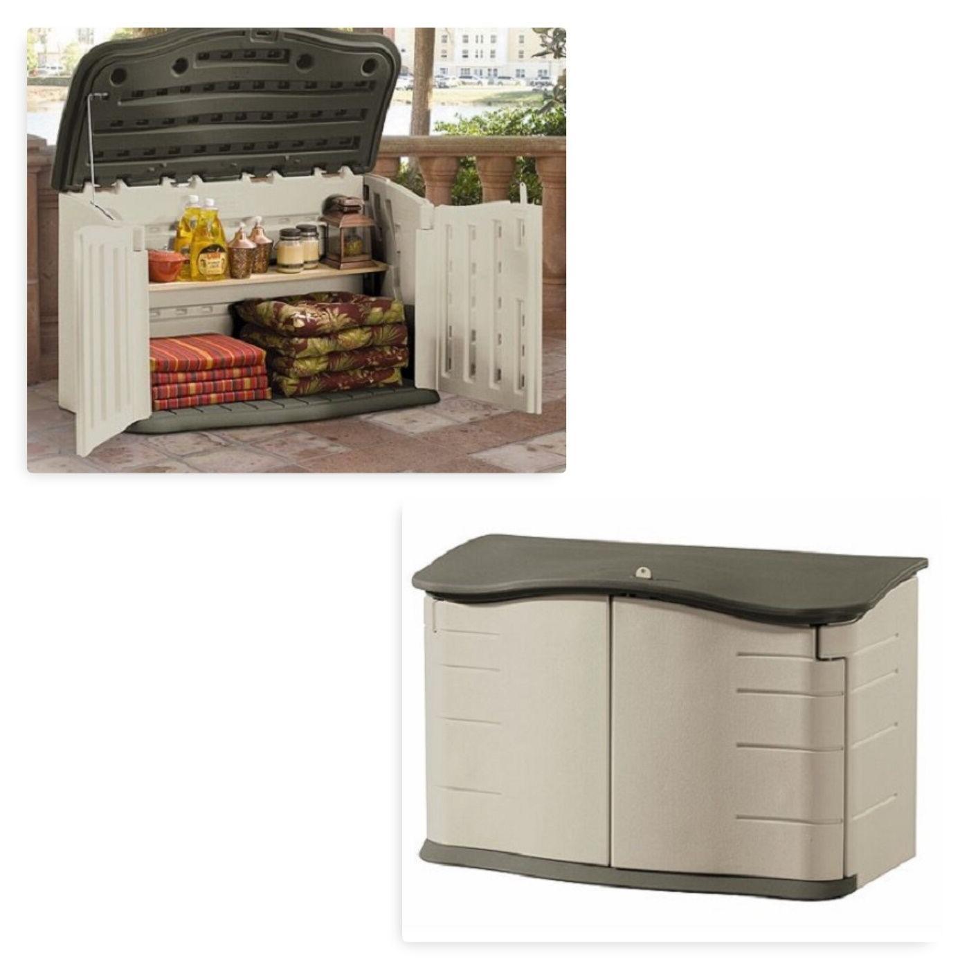 garden storage deck box unit tan shed