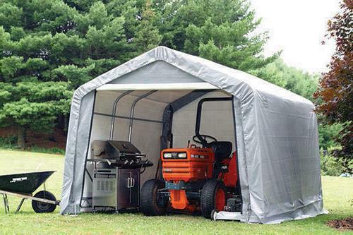 Large 10' in a Peak Shelter Steel Frame Backyard Storage