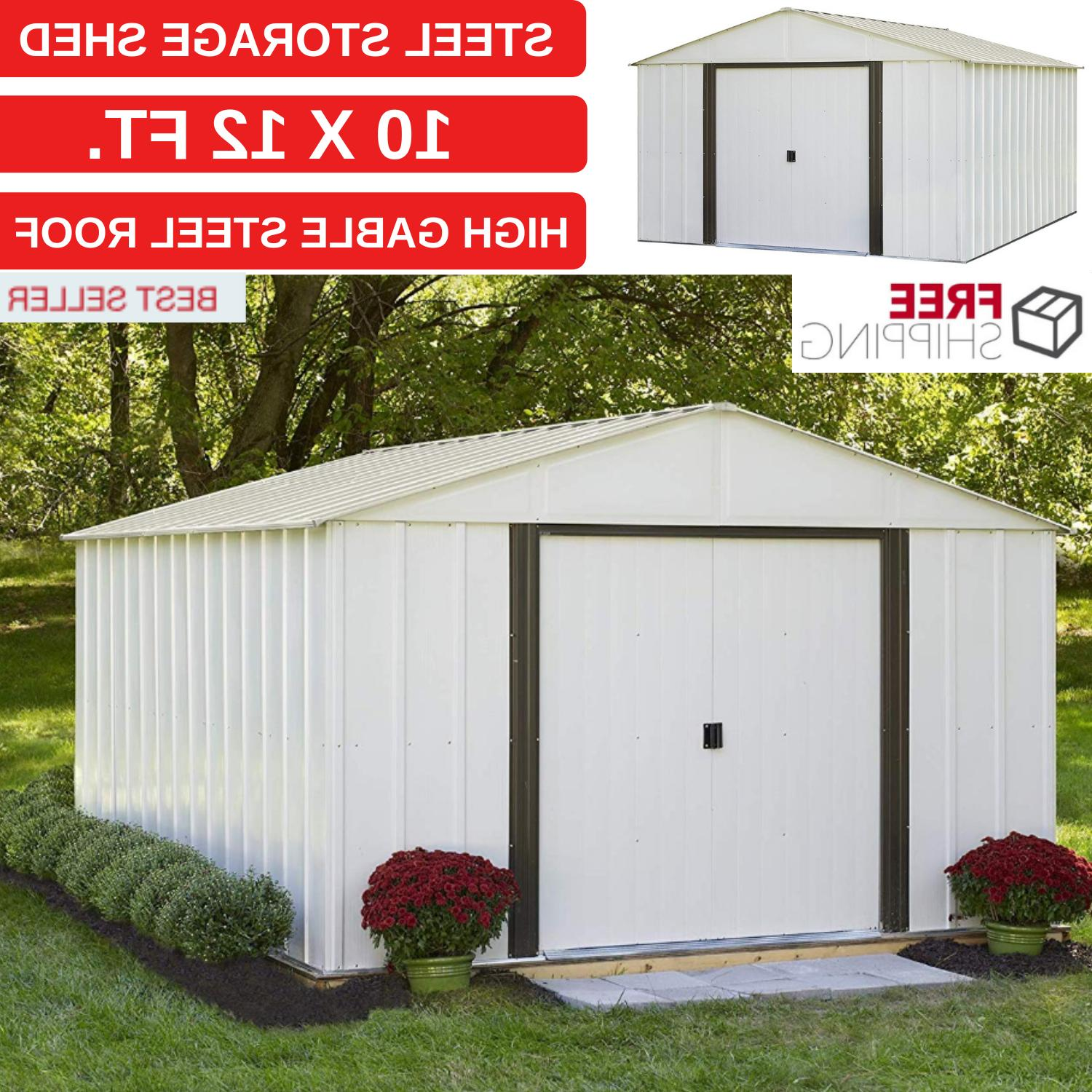 New Steel Storage Shed 10 x 12 ft High Gable Style Roof For