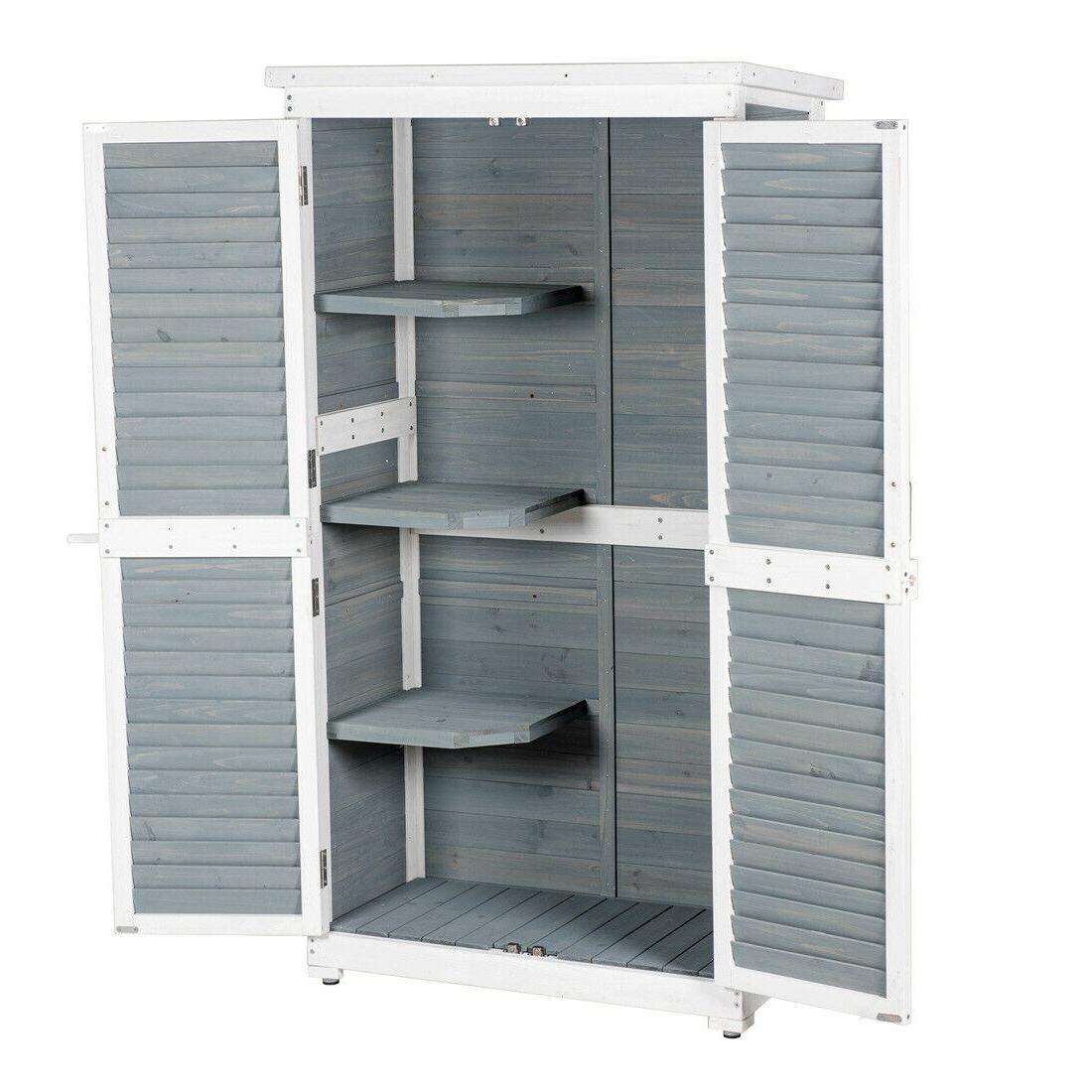Outdoor Garden Nature Wood Storage Cabinet Waterproof Tool Shed Blinds Lockers