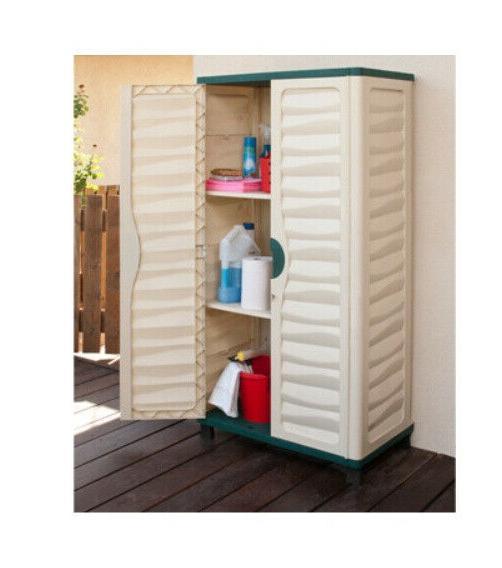 outdoor storage cabinet garden utility plastic horizontal