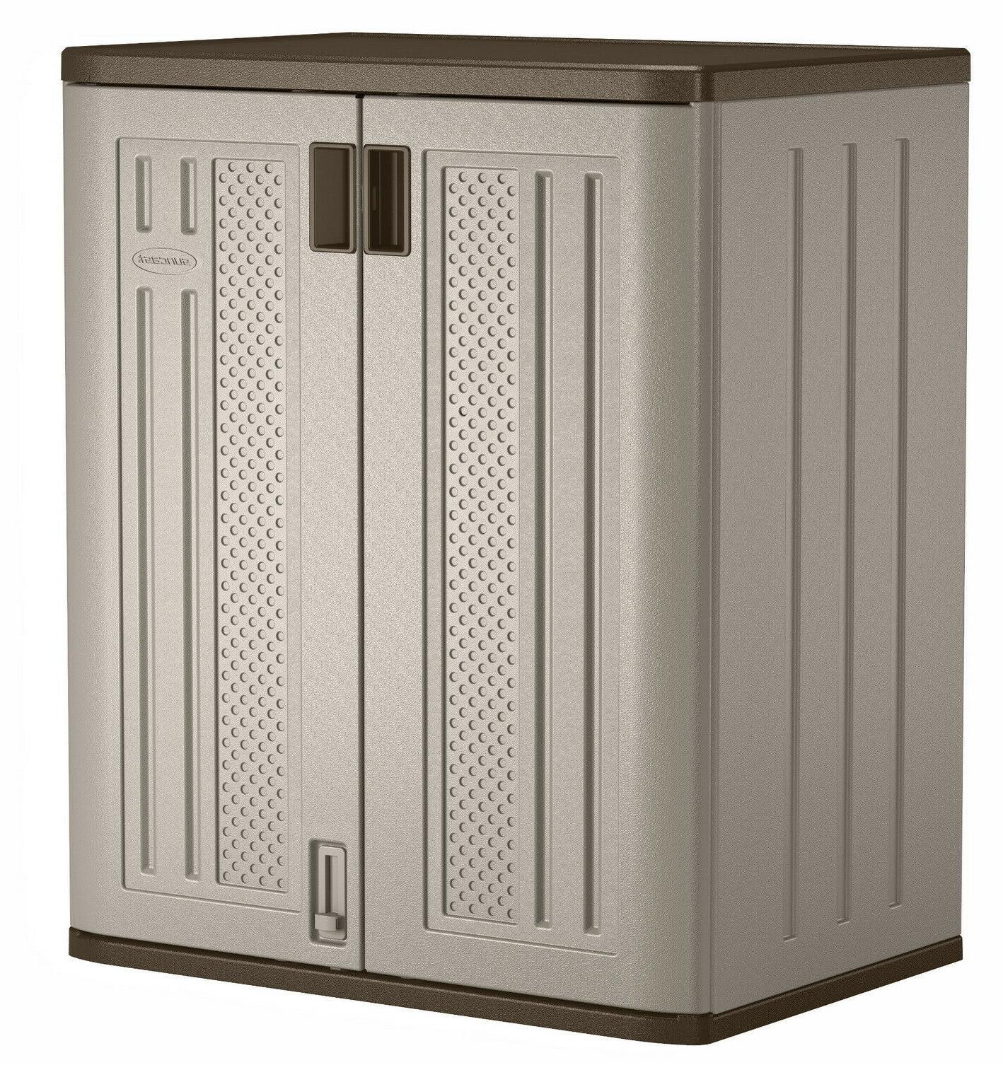 Outdoor Storage Cabinet Plastic Horizontal Shed Garage Shelv