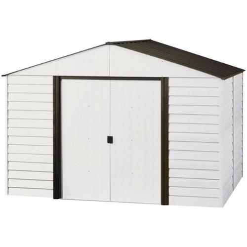 Arrow Low Steel Storage Shed, Coffee/Eggshell, 8 x