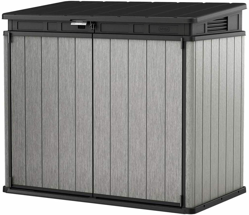 237831 elite outdoor storage shed grey black