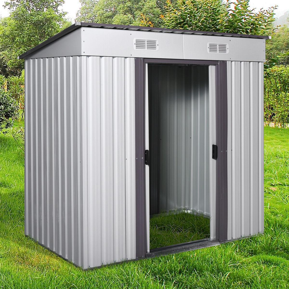 4' x 6' Outdoor Garden Storage Shed Tool House w/ Sliding Do