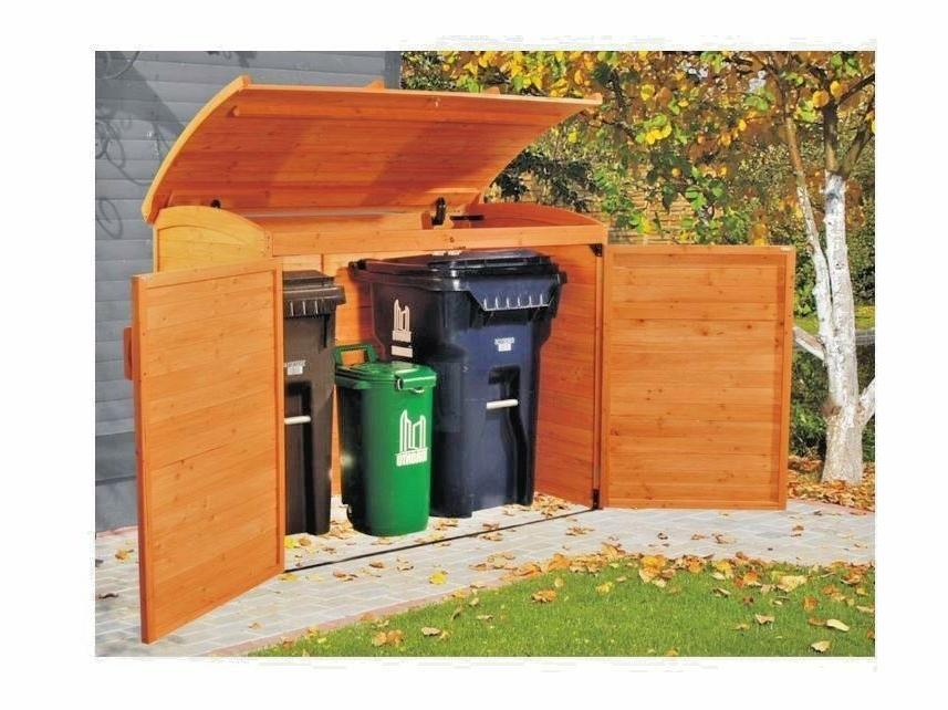 Wooden Garbage Can Holder Outdoor Home Storage Shed Bin Soli