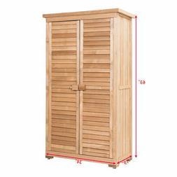 Outdoor 63'' Tall Wooden Garden Storage Shed Fir Wood Shutte