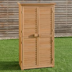 Outdoor Garden Storage Shed Wooden Tools Tall Narrow Deck Pa