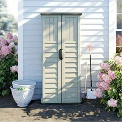 Outdoor Storage Utility Shed Patio Garden Vertical Tool Cabi