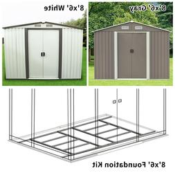 Steel 8'x6' Outdoor Garden Storage Shed Garage Tool Shed Uti