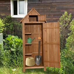 Tall Garden Storage Tool Shed  Lockable Cabinet Fir Wood for