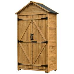 Tool Shed Outdoor Storage Cabinet  Backyard Garden Wooden Or